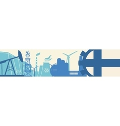 Energy and power icons set finland flag vector