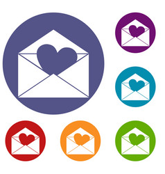 envelope with valentine heart icons set vector image