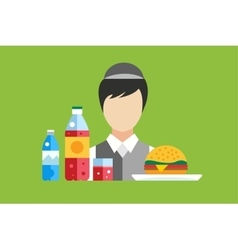 Fast food restaurant objects set vector