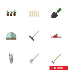 Flat icon dacha set of wooden barrier flowerpot vector