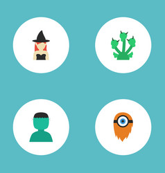 Flat icons character fire snake and other vector