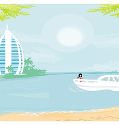 girl on a yacht vector image vector image