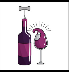 Glass splashing and bottles of wine with take out vector