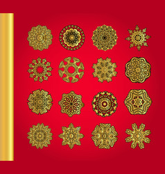 Golden snowflakes on red background vector