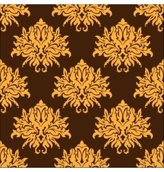 Golden yellow vintage floral seamless pattern vector image vector image
