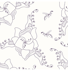 Hand drawn seamless pattern with flower and wasp vector