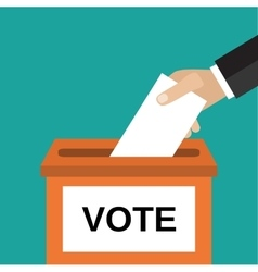Human hand putting voting pape vector