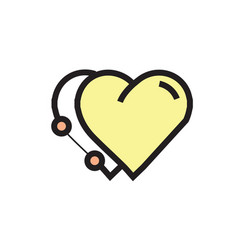 Icon twins heart pen tool style yellow vector