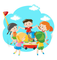 Kids holding hands around the wagon vector