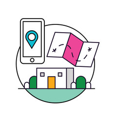 Mobilephone location base icon vector