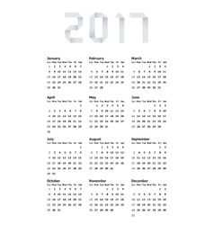 Modern calendar 2017 on white vector