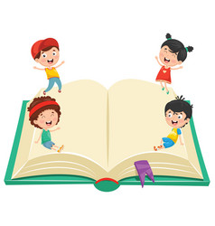 of kids with book vector image vector image