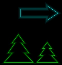 Self-illuminated Christmas trees with arrow vector image vector image