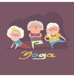 Senior people doing yoga exercise vector
