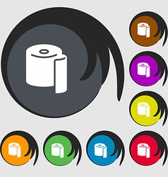 Toilet paper icon sign symbols on eight colored vector