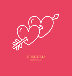 Two hearts pierced by arrow line icon logo vector