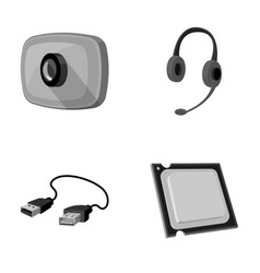 Webcam headphones usb cable processor personal vector