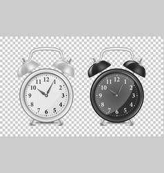 White and black alarm clock icon set design vector