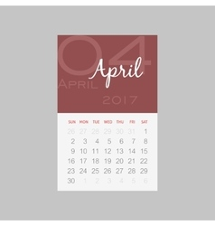 Calendar 2017 months april week starts sunday vector