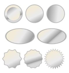 Pearl white foil label sticker set vector