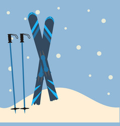 Blue skis and ski poles standing in snow vector