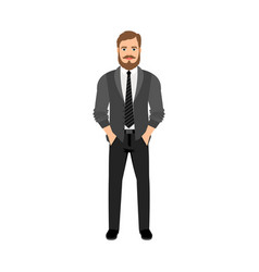 a bearded hipster in gray clothes vector image