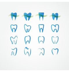 Tooth icon set vector