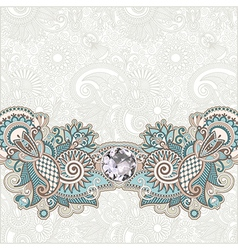 Ornate floral background with diamond jewel vector