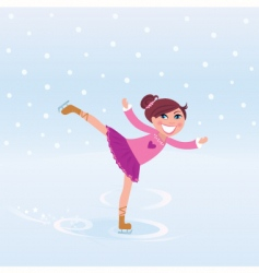 Young girl training ice figure vector