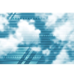 Abstract tech blue design with cloudscape vector