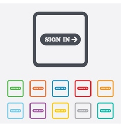 Sign in with arrow sign icon login symbol vector