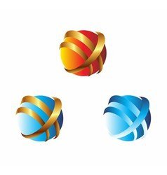3D Global connection abstract icons vector image vector image