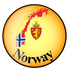 Orange button with the image maps of button norway vector