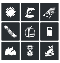 Holidays at seaside and in the mountains icons set vector