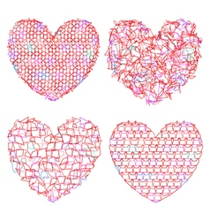 Set of delicate multicolored hearts for decoration vector