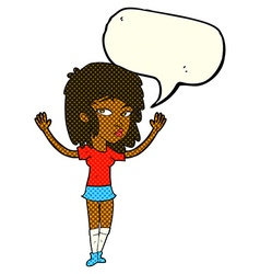Cartoon pretty girl with speech bubble vector