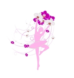 Tender ballerina holding an arrangement of orchid vector