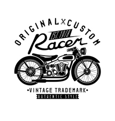 Racer vintage print with motorcycle and wrenches vector