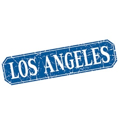Los angeles blue square grunge retro style sign vector