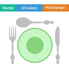 Flat design icon of silverware and plate vector