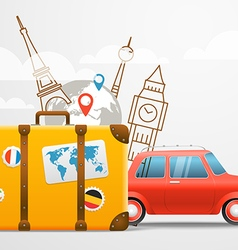 Vacation travelling composition with red retro car vector