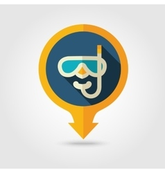Diving mask pin map flat icon summer vacation vector