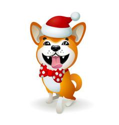 Akita inu japanese dog christmas poster with vector