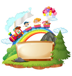 border template with happy kids on the train vector image