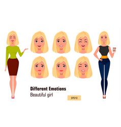 Businesswoman making different face expressions vector