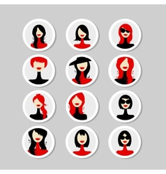 Cards with woman faces for your design vector
