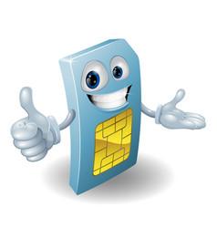 Cartoon mobile phone sim card man vector