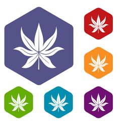 Chestnut leaf icons set hexagon vector