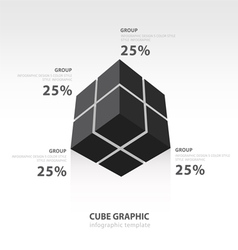Cube infographic template bottom view black color vector