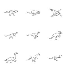 dinosaur icons set outline style vector image